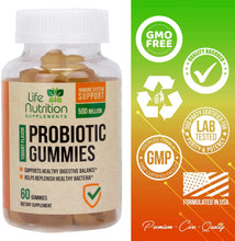 Load image into Gallery viewer, Probiotic Gummies Highest Potency Digestive Gummy 1 Billion CFU - Natural Gut Health Supplement - Best Vegan Gas & Bloating Relief, Better Digestion for Men and Women - 60 Gummies