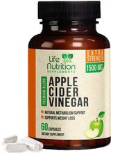 Load image into Gallery viewer, 100% Raw Apple Cider Vinegar Capsules Highest Potency 1500mg - Weight Management & Metabolism Booster, Made in USA, Best Vegan ACV Pills, Heartburn Relief & Detox Cleanse Supplement - 120 Capsules