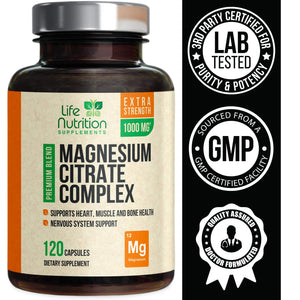 Magnesium Citrate Capsules Highest Potency 1000mg - 100% Chelated for High Absorption - Made in USA - Best Stress Relief, Sleep, Muscle Relaxation, Bone, Joint, Heart Supplement - 120 Capsules