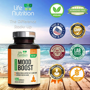 Mood Boost Support for Stress & Anxiety Relief 1100mg - Natural Serotonin Production & Nootropic Dopamine Booster, Focus Supplement Pills w/ 5-HTP & Ashwagandha for Men & Women, Non-GMO - 120 Capsules