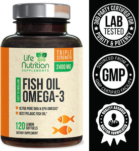 Fish Oil - Triple Strength Omega 3 Supplement with 2400mg EPA & DHA Essential Fatty Acids - Made in USA - Heart, Brain, Joint Support for Men & Women - Non-GMO, Lemon Flavor - 120 Softgels