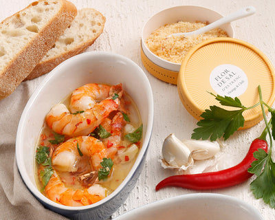 Gambas in garlic white wine sauce