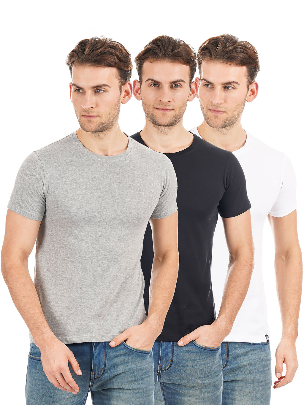 Rock Hooper Men's Half Sleeve Cotton-White, Black, Grey Round Neck Combo Pack of 3 T-Shirts