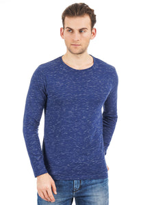 Rock Hooper Men's Full sleeve Round Neck Cotton Blue T-Shirt
