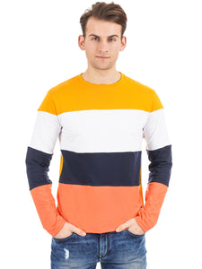 Rock Hooper Men's Full sleeve Round Neck Color Block Cotton T-Shirt - Multicolor