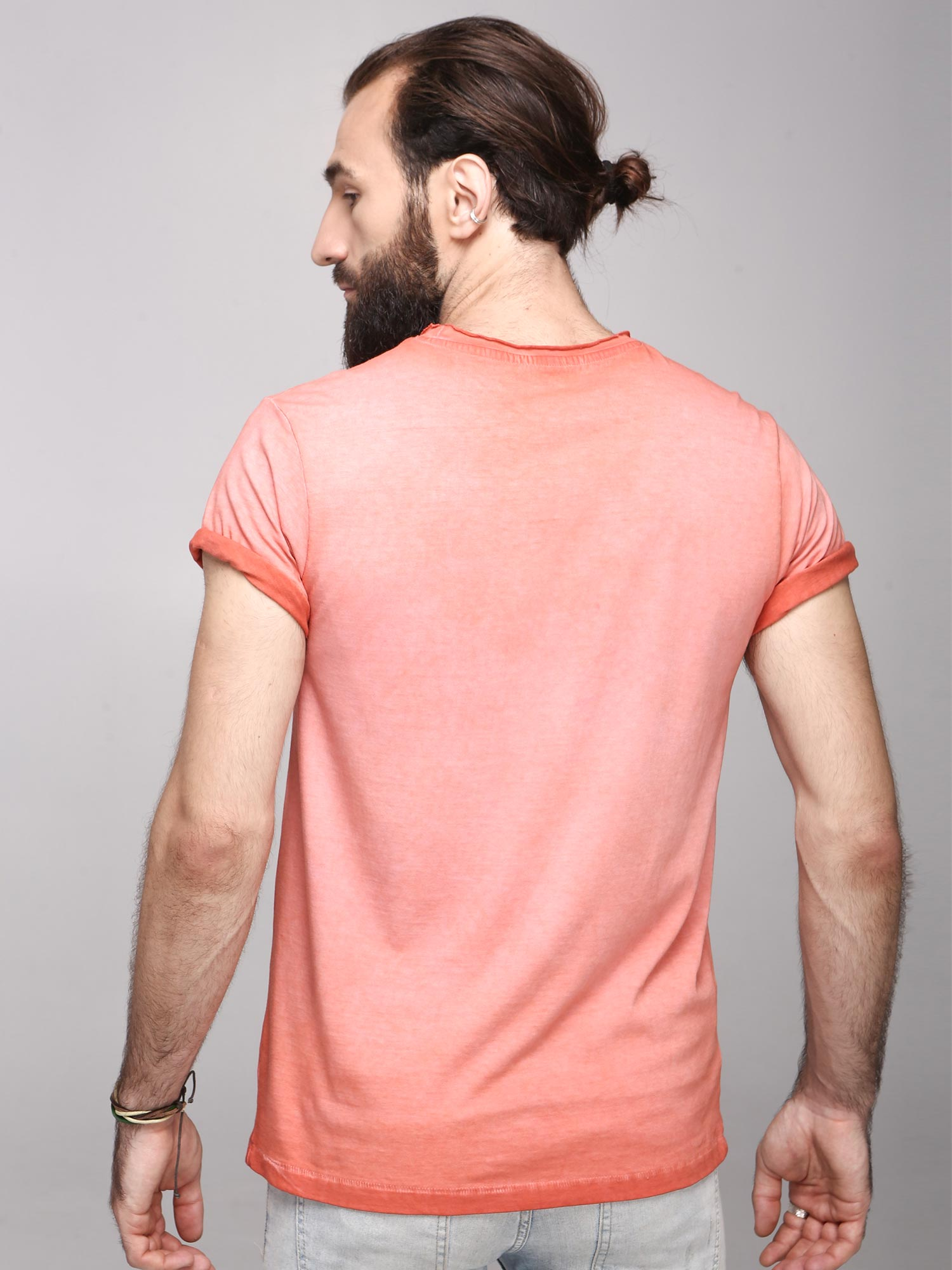 Rock Hooper Men's Half Sleeve Cotton Pink Round Neck  T-Shirt