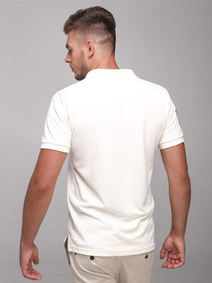 Rock Hooper Men's Solid Collar Cotton Ivory Half Sleeve Polo T-Shirt