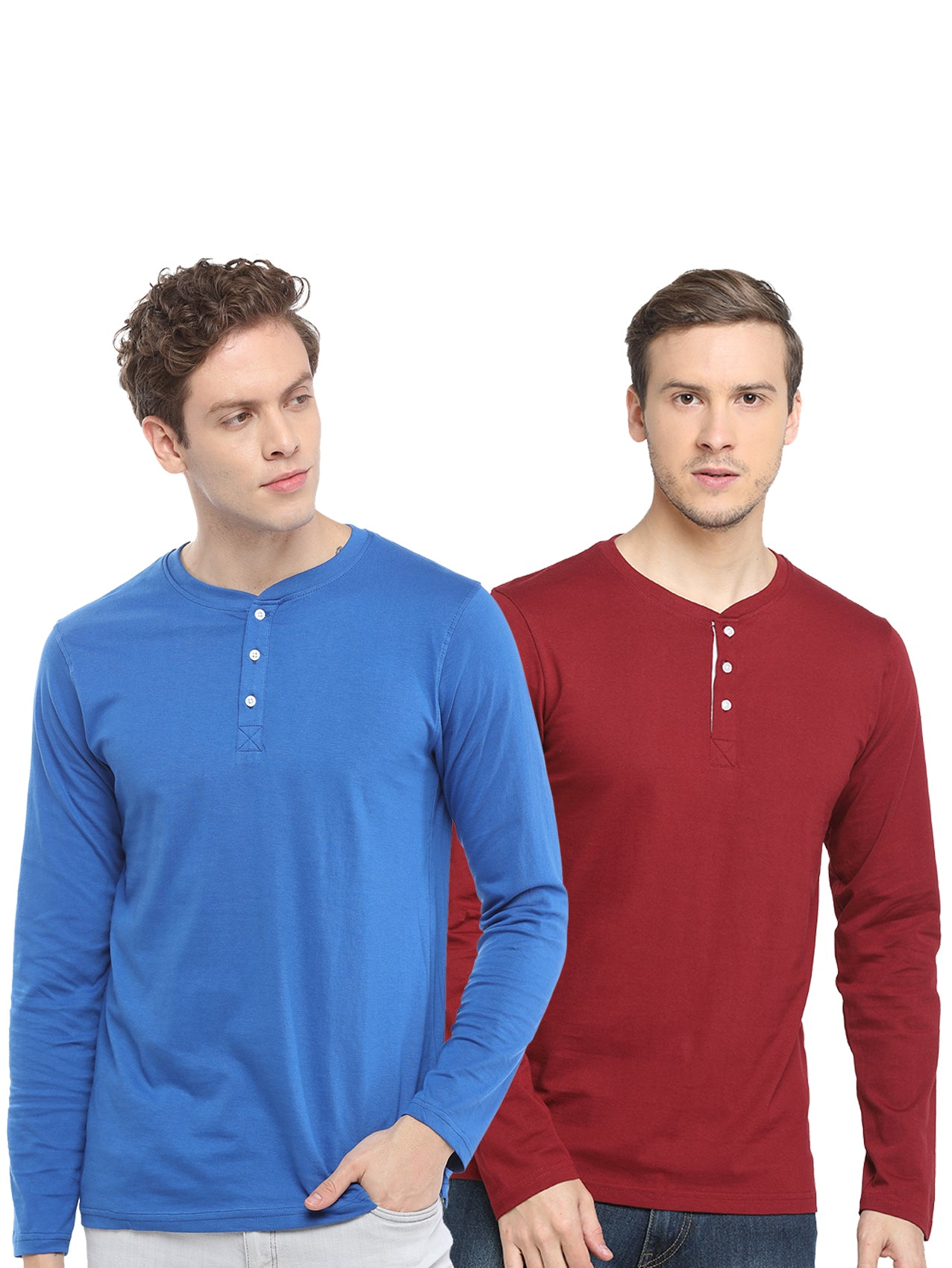 Rock Hooper- Men's Full Sleeve Regular Fit Multicolor Cotton Combo T-shirt(Pack of 2)