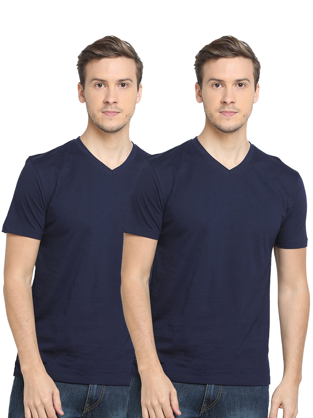 Rock Hooper-Men's Half Sleeve Cotton Plain White/Black/Grey/Navy Blue V-Neck T-Shirt(Pack of 2)