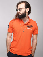 Rock Hooper Men's Solid Half sleeve Cotton Orange Polo T-shirt