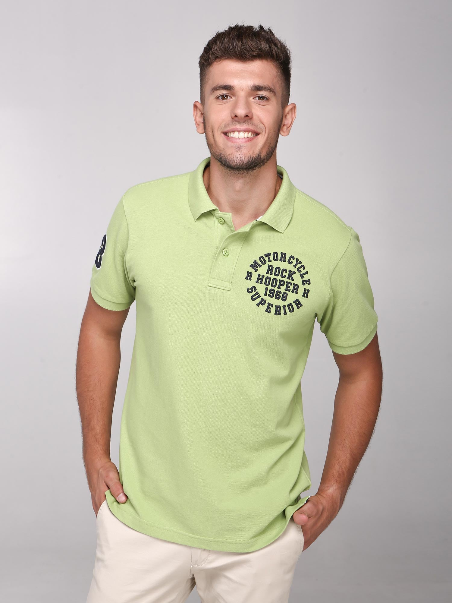 Rock Hooper Men's Solid Collar Cotton Green Half Sleeve Polo T-Shirt