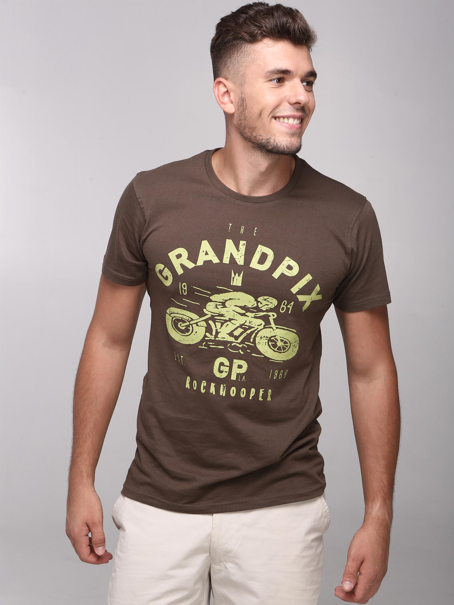 Rock Hooper Men's Half Sleeve Cotton Brown Round Neck  T-Shirt