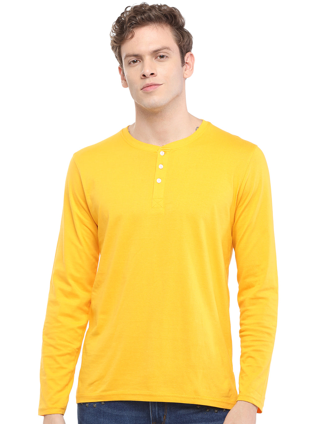Rock Hooper - Men's Regular Fit Full Sleeve Henley Neck Mustard Yellow Cotton T-shirt