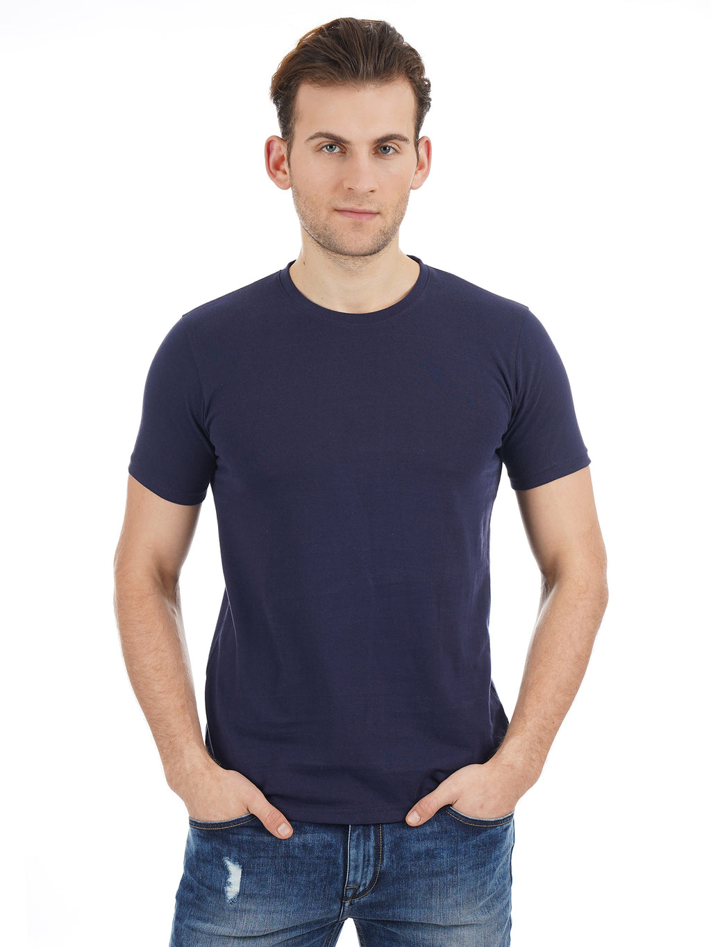 Rock Hooper Men's Half Sleeve Cotton Navy Blue Round Neck T-Shirt