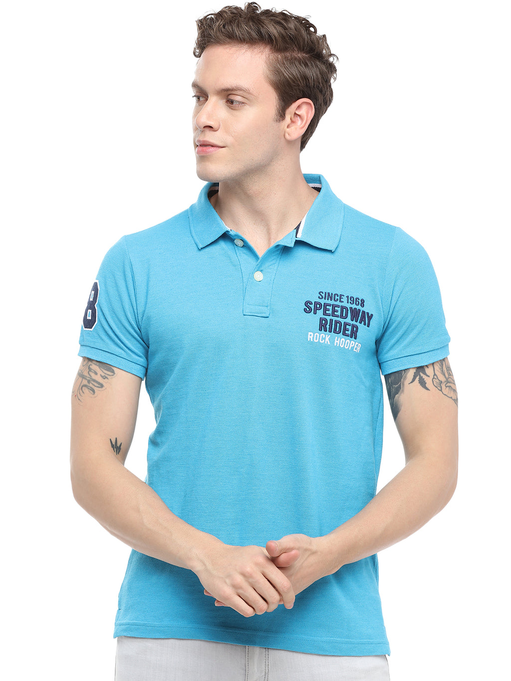 Rock Hooper Men's Solid Half sleeve Cotton Turquoise Melange Polo T-shirt