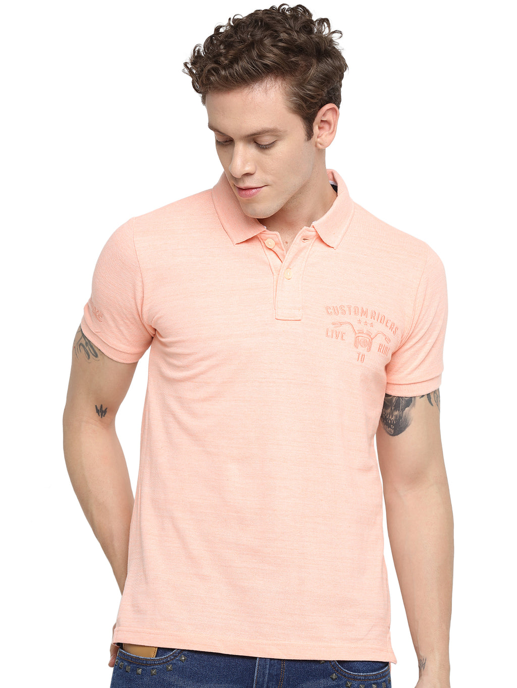 Rock Hooper Men's Solid Half sleeve Cotton Orange Melange Polo T-shirt