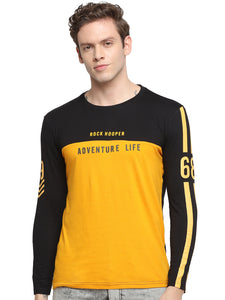 Rock Hooper Men's Full sleeve Round Neck Cotton Black/Mustrad Yellow T-Shirt