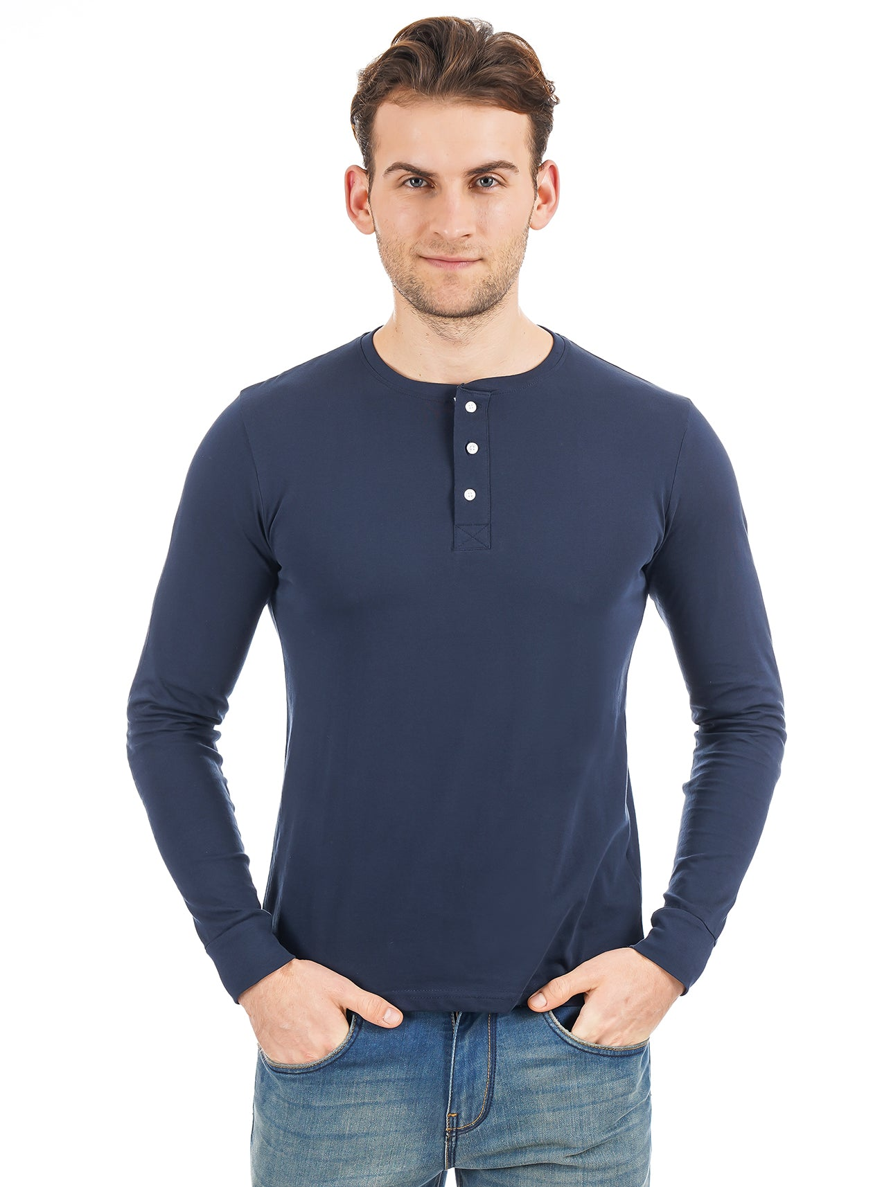 Rock Hooper Men's Full sleeve Henley Neck Cotton Navy Blue T-Shirt