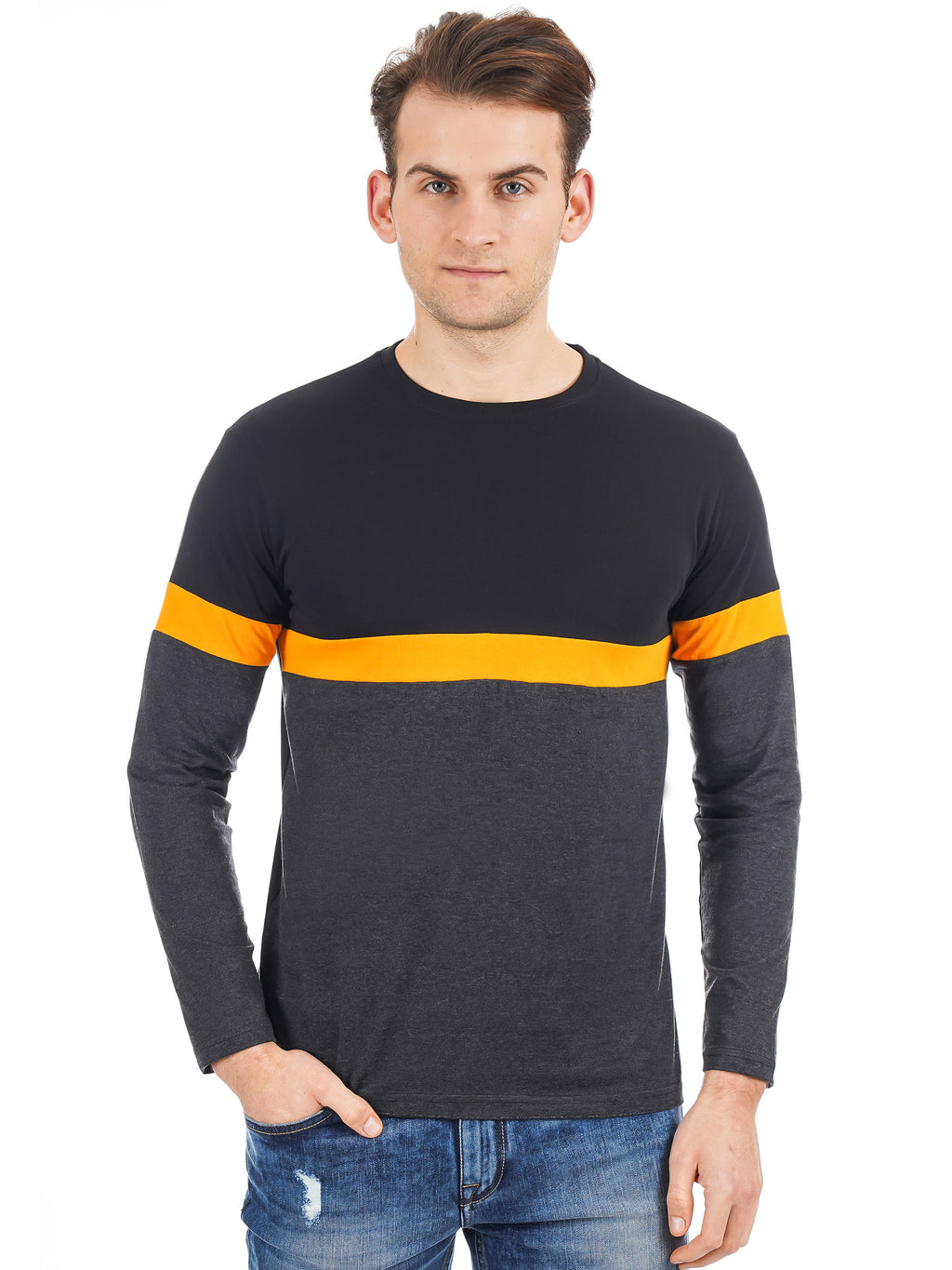 Rock Hooper Men's Full Sleeve Raglan Round Neck Cotton Black T-Shirt
