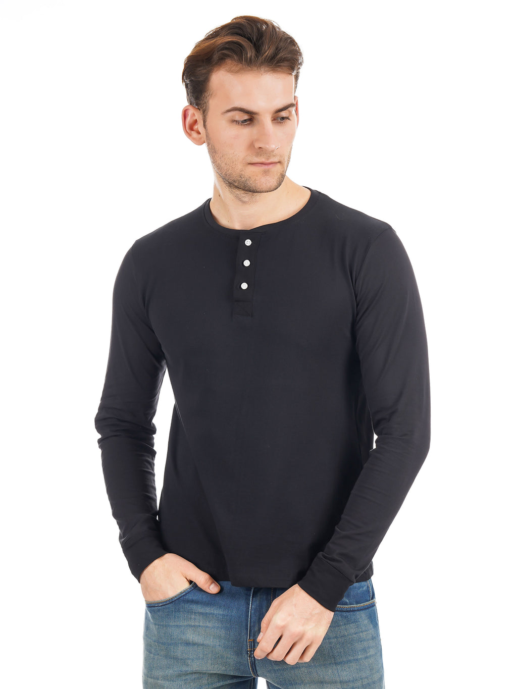 Rock Hooper Men's Full sleeve Henley Neck Cotton Black T-Shirt
