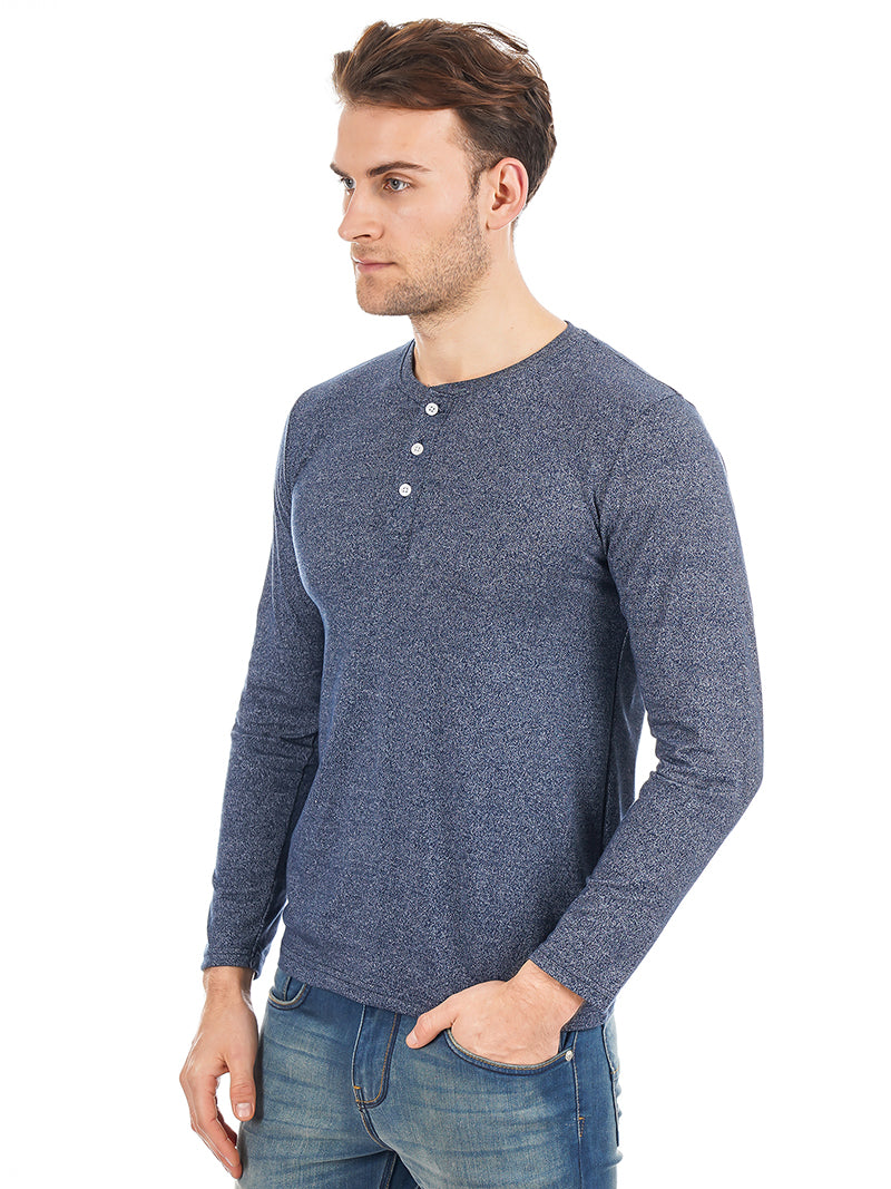 Rock Hooper Men's Full sleeve Henley Neck Cotton Blue T-Shirt