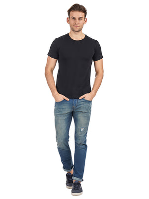 Rock Hooper Men's Half Sleeve Cotton Black Round Neck T-Shirt