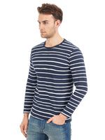 Rock Hooper Men's Full Sleeve Striped Cotton Blue Round Neck T-Shirt