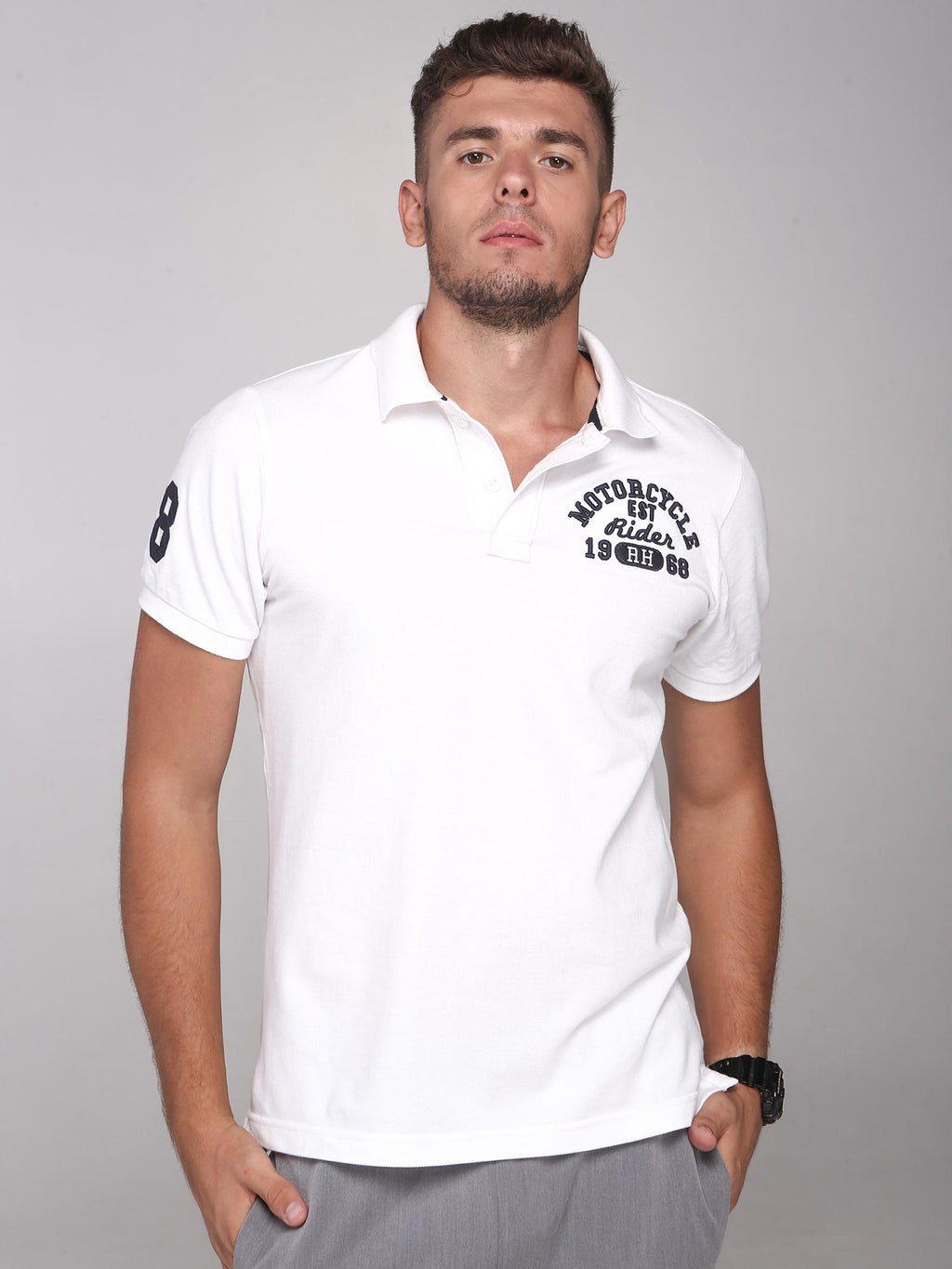 Rock Hooper Men's Solid Collar Cotton White Half Sleeve Polo T-Shirt