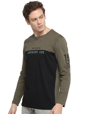 Rock Hooper Men's Full sleeve Round Neck Cotton Olive Green/Black T-Shirt