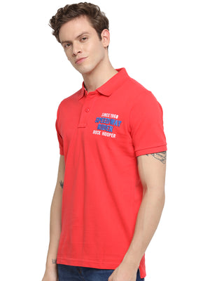 Rock Hooper Men's Solid Half sleeve Cotton Salmon Red T-shirt