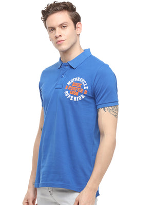 Rock Hooper Men's Solid Half sleeve Cotton Royal Blue Polo T-shirt