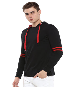 Rock Hooper Men's Striped Full Sleeve Cotton Hooded Black-Red T-Shirt