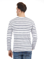 Rock Hooper Men's Full sleeve Striped Cotton White Round Neck T-Shirt