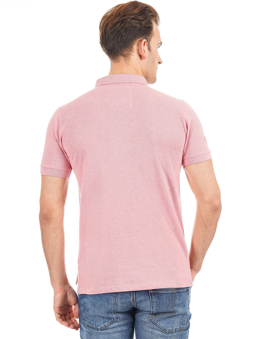Rock Hooper Men's Solid Collar Cotton Pink Half Sleeve Polo T-Shirt