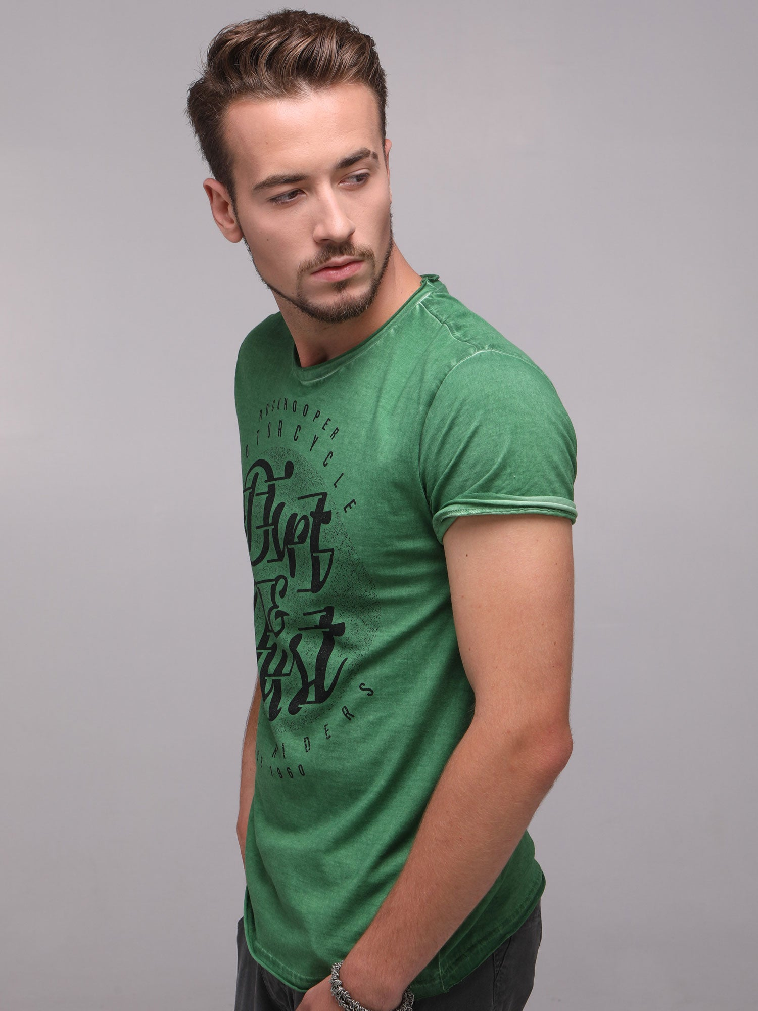 Rock Hooper Men's Half Sleeve Cotton Green Round Neck  T-Shirt