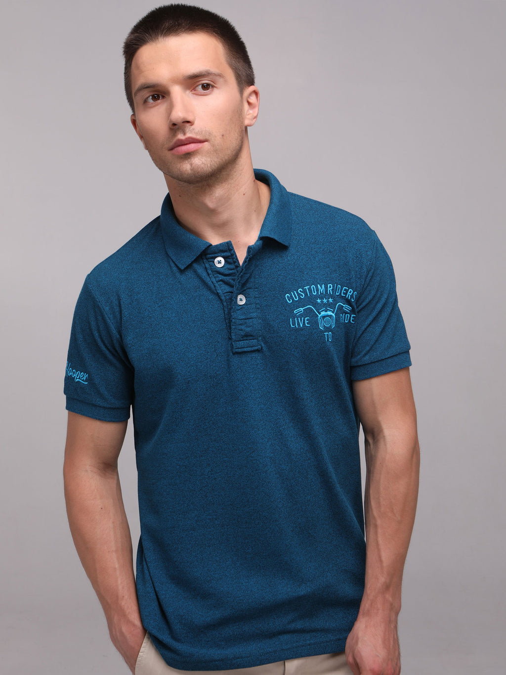 Rock Hooper Men's Solid Collar Cotton Turquoise Half Sleeve Polo T-Shirt