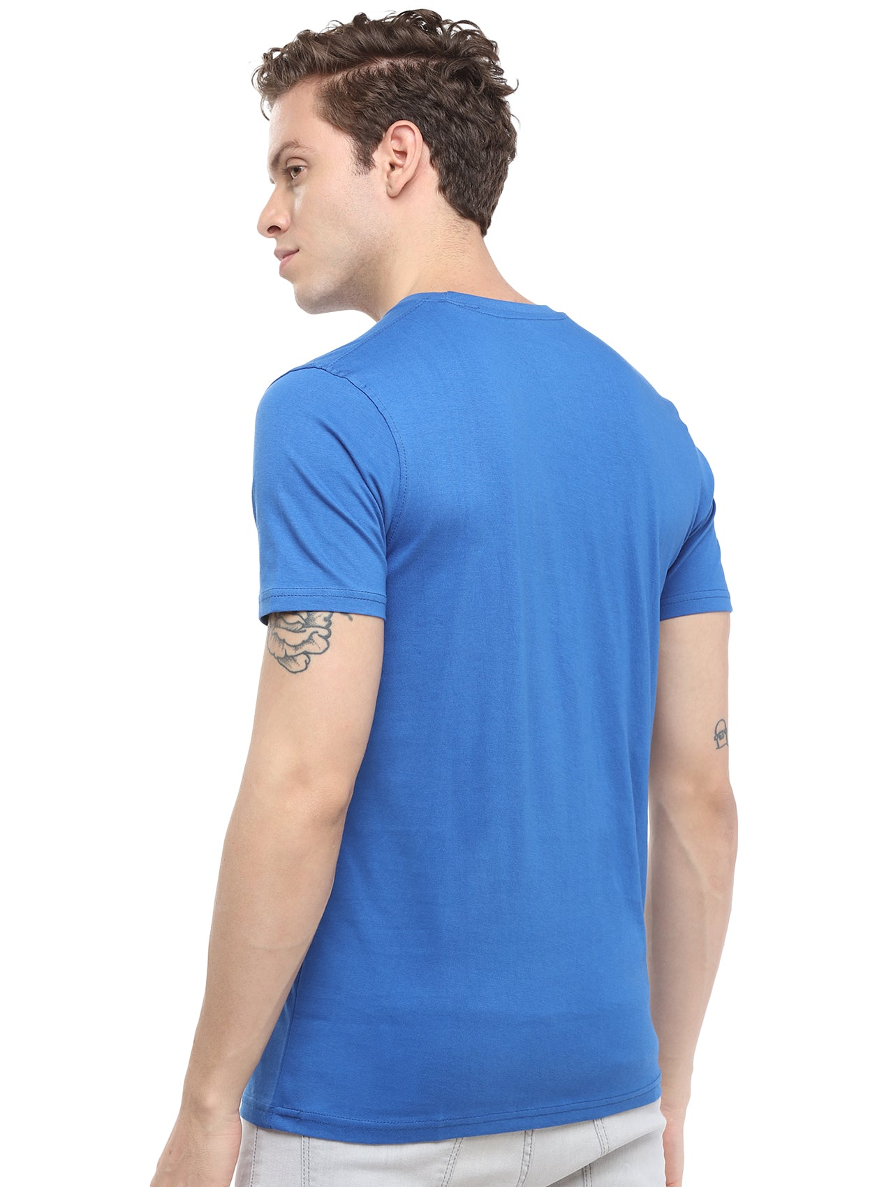 Rock Hooper - Men's Regular Fit Half Sleeve Round Neck Classic Blue Cotton T-shirt