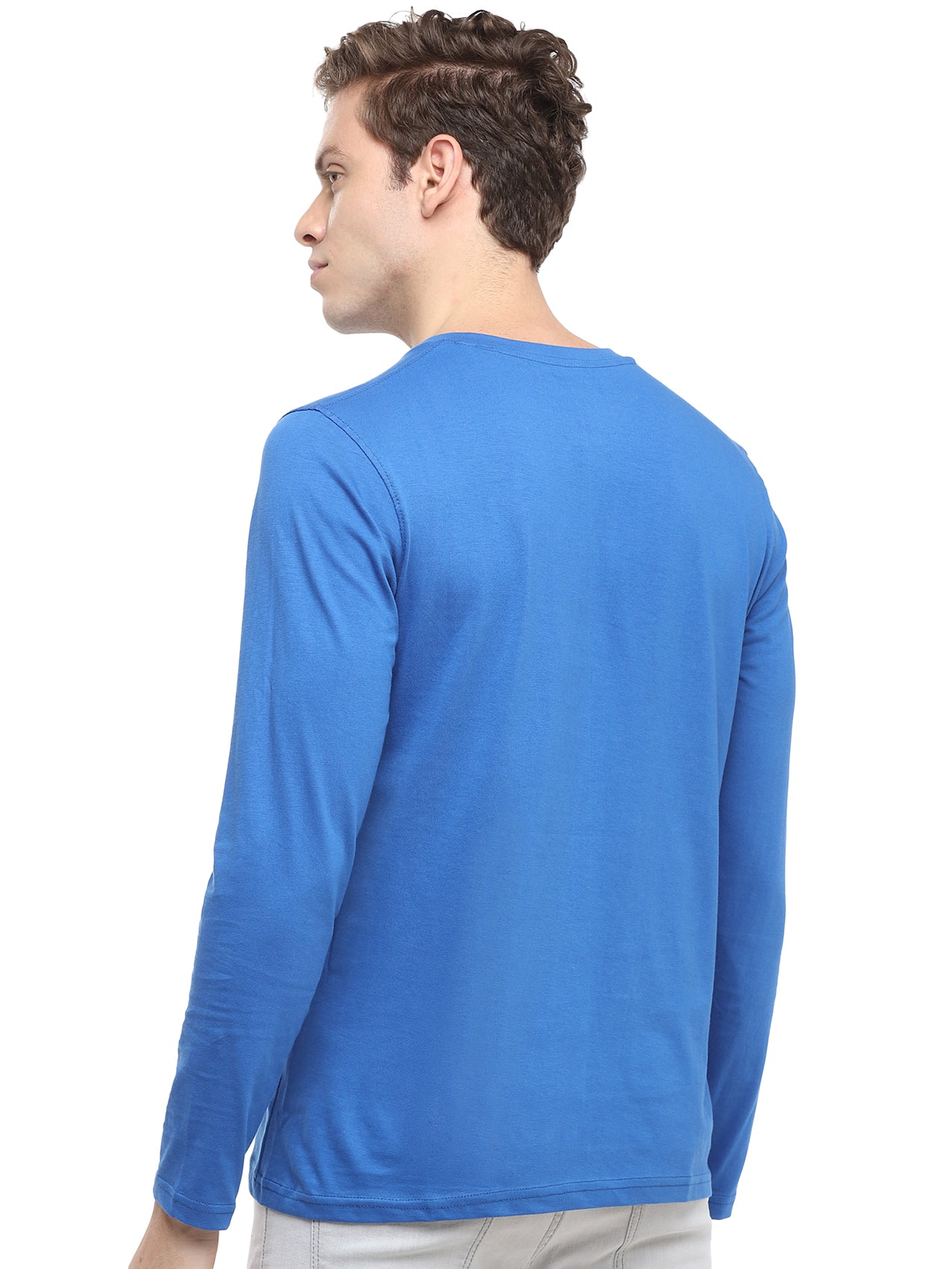 Rock Hooper - Men's Regular Fit Full Sleeve Henley Neck Classic Blue T-shirt