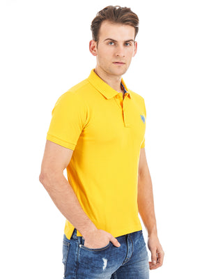 Rock Hooper Men's Solid Collar Cotton Yellow Half Sleeve Polo T-Shirt