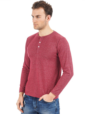 Rock Hooper Men's Full Sleeve Henley Neck Cotton Red T-Shirt