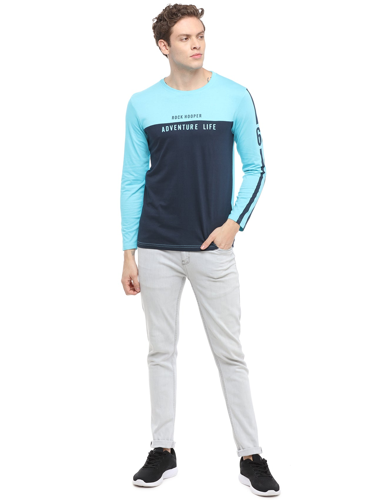 Rock Hooper Men's Full sleeve Round Neck Cotton Aqua Blue/Navy Blue T-Shirt