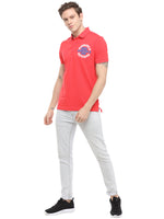 Rock Hooper Men's Solid Half sleeve Cotton Salmon Red Polo T-shirt