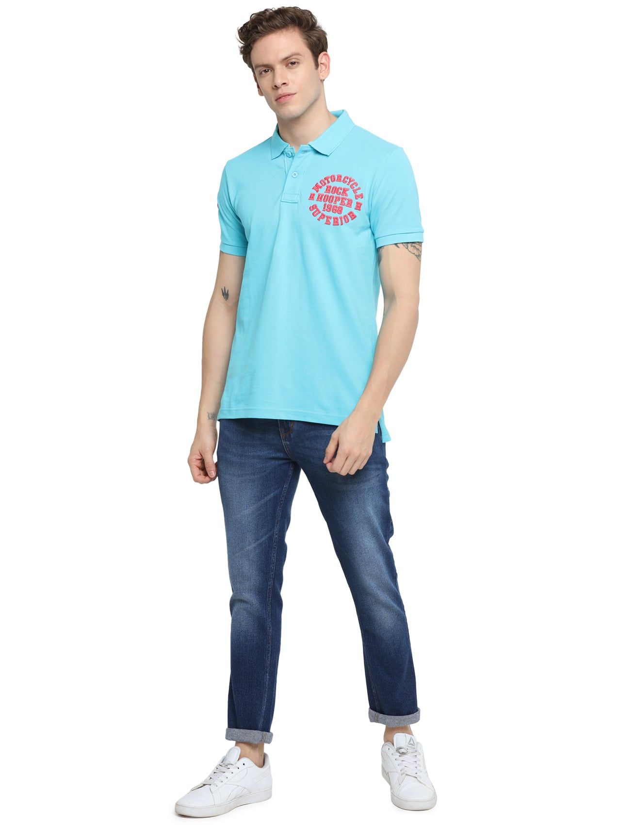 Rock Hooper Men's Solid Half sleeve Cotton Aqua Blue Polo T-shirt