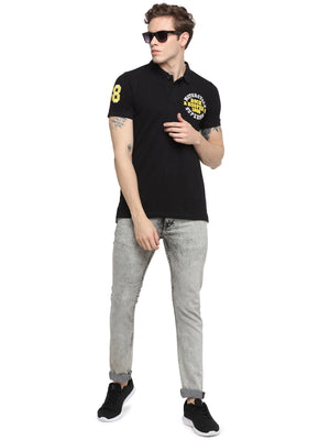 Rock Hooper Men's Solid Half sleeve Cotton Black Polo T-shirt
