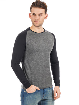 Rock Hooper Men's Raglan Sleeve Cotton Round Neck Black Full Sleeve T-shirt