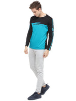 Rock Hooper Men's Full sleeve Round Neck Cotton Black/Aqua Blue T-Shirt