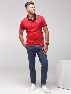 Rock Hooper Men's Solid Collar Cotton Red Half Sleeve Polo T-Shirt