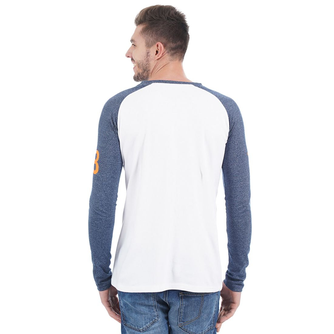 Rock Hooper Men's Full sleeve Round Neck Cotton White T-Shirt