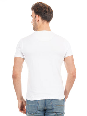 Rock Hooper Men's Half Sleeve Cotton-White/Black/Grey Round Neck Combo Pack of 3 T-Shirts