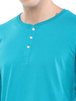 Rock Hooper - Men's Regular Fit Full Sleeve Henley Neck Aqua Blue Cotton T-shirt